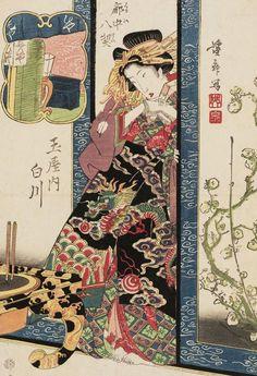 Shirakawa of the Tamaya. Ukiyo-e woodblock print, about 1830's, Japan, by artist Keisai Eisen.
