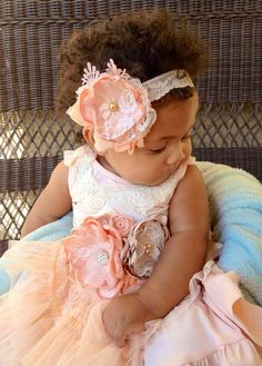 Newborn baby dress, headband baby belt/sash, toddler, wedding, bridal, take home outfit, peach, tan, cream, headband, flower girl dress on Etsy, $74.50