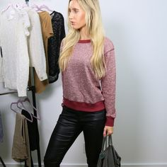 Maroon French Terry Top with Back Zipper I love clothes with a sporty look. This maroon french terry top is chic for casual days. Back zipper. Comfortable cotton poly spandex blend. New with tag. Sizes M or L. Price firm unless bundling. *Not from listed brand, done for exposure. Boutique brand. lululemon athletica Tops