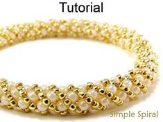 "Simple Spiral PDF Digital Beading Tutorial This ""Simple Spiral"" beading pattern will easily teach you how to make this beautiful Russian spiral stitch necklace or bracelet made up entirely of seed beads! With over 25 high-resolution full-color photos and easy to follow step by"