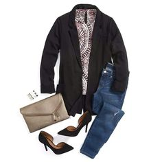 Like the jeans, blouse and clutch.   The blazer seems less structured than I would like.