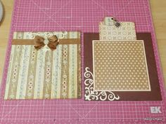 """Today's pages both measure 6"""" x 6"""" and are decorated quite simply with some patterned paper, ribbon, self-adhesive pearls and die cuts.   ..."""
