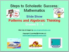 Patterns and Algebraic Thinking PowerPoint Slide Show for Grades 3 - 4