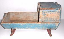 Antique Primitive Doll Cradle with bonnet original blue & red paint late 1800's