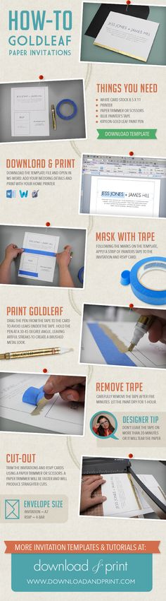 DIY wedding invitation: How to create a brushed gold effect. Learn how to gold leaf with this simple infographic from #downloadandprint. View the template at http://www.downloadandprint.com/diy-brushed-gold-wedding-invitation/