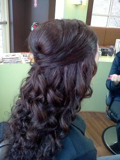 Beach Informal Romantic Curly Half-up Long Wedding Hair & Beauty Photos & Pictures - WeddingWire.com
