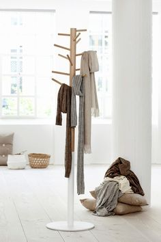 Love the idea of a coat tree to display scarves on. Mine are all jumbled up now in drawer.