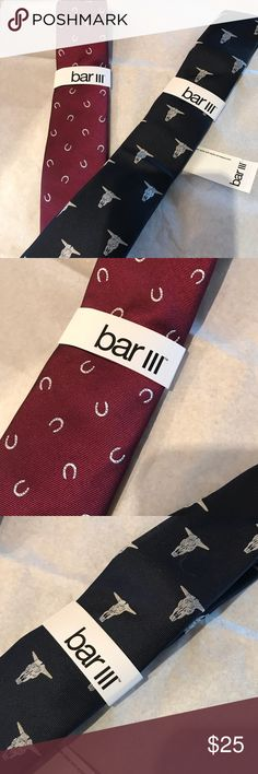 Bar III ties- 2 for $25 Two tie bundle - take both for $25 Bar III skinny ties - one burgundy with horse shoes  One navy with cow skulls . Both New with tags Sell New for $55 each Bar III Accessories Ties