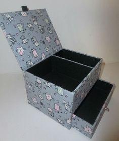 petite boîte à bijoux tissu chats
