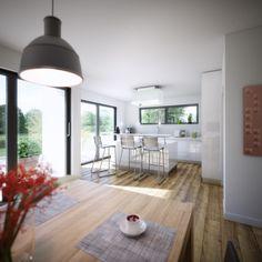 Der klar strukturierte Grundriss ermöglicht großzügiges und offenes Wohnen auf einer Ebene. Der rechte Teil des Bungalows, der rund 75 Quadratmeter umfasst, beherbergt einen großzügigen Wohn-Essbereich mit offener Küche. Ganz im Stil einer modernen Küche berücksichtigt der Entwurf viel Platz für eine große Kochinsel.   Mehr zum Bungalow Purea von Kern-Haus finden Sie unter: http://www.kern-haus.de/haeuser/bungalows/k48_purea/detail/_15.127.html