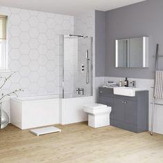 1700mm Harper Right Hand Shower Bath & Gloss Grey Combined Vanity Unit Suite - Belfort Pan