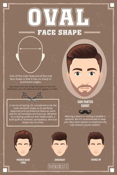 Oval Face ★Face shapes guide to matching your haircut perfectly. Take advantage of your unique face shape features and enhance them with your head and facial hair. Oval Face Haircuts Men, Face Shape Hairstyles Men, Oval Face Men, Oblong Face Hairstyles, Haircut For Face Shape, Oblong Face Shape, Oval Faces, Cool Haircuts, Haircuts For Men