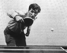 Bobby Fischer playing ping pong.