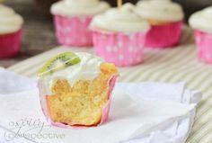 Wow! Pina Colada Cupcakes with Fresh Kiwi Frosting