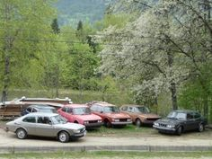 Saab 99s - the silver one to the left looks just like the one I drove into the ground (1978 99T)