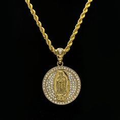 Hip Hop Jewelry Bling Bling Gold Plated Catholic Religious Goddess Virgin Mary Pendant Necklace Men's Iced Out Necklace