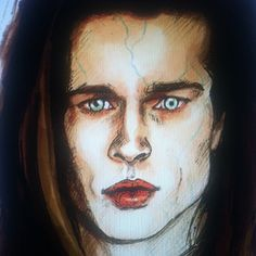 Interview with the Vampire. Brad Pitt. Sketch by Myrtle Quillamor, Illustrator.