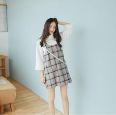 Korean style - sling plaid print hem curve dress - AddOneClothing - 4