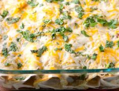 Salsa Verde Chicken Enchiladas - great flavor, quick and easy to make. I use tortilla chips instead of tortillas because the tortillas get soggy. More of a chilaquiles than enchiladas but so yummy! Authentic Mexican Recipes, Mexican Food Recipes, New Recipes, Dinner Recipes, Cooking Recipes, Favorite Recipes, Healthy Recipes, Entree Recipes, Gourmet