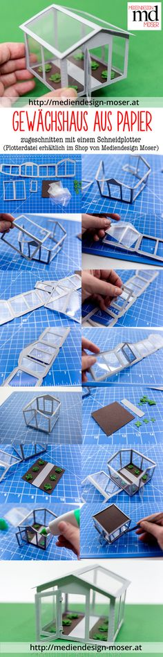 Greenhouse / glasshouse cut with cutting machine.svg and files available at Mediendesign Moser. project for cutting machine. Diy Dollhouse, Dollhouse Furniture, Dollhouse Miniatures, Silhouette Cameo, Nancy Doll, Valentines Day For Him, 3d Projects, Glass House, Small World