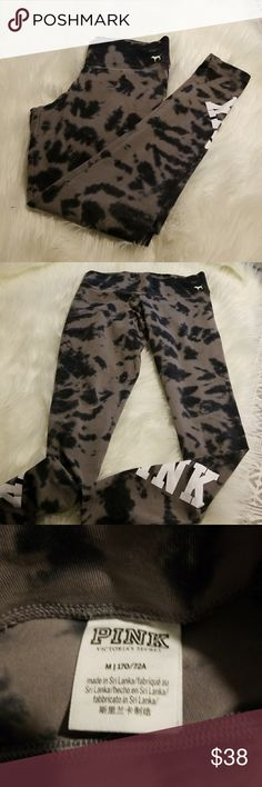 Victoria secret yoga pant Tye dye affect yoga pant by Victoria secret, inseam is 27 inches!!! Id say the color dark blue /black?? Its hard to tell....white pink screen print on side of legs..  skinny fit.   EUC....stock photo is just to show fit!!! Not actual pant my opinion these run big!! More like a large... PINK Pants Track Pants & Joggers