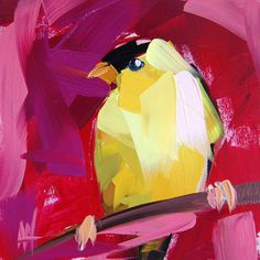 Goldfinch no. 54 original bird oil painting by Angela Moulton prattcreekart