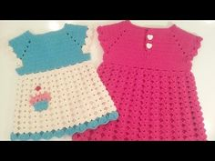 فساتين اطفال كروشيه من مقاس  بيبي 0 حتى 12-18 شهر بدون خياطة #1 Seamless Crochet baby dress - YouTube
