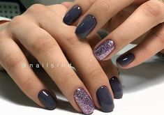Black Nail Designs With Gold. Nail styles or nail art is certainly a basic principle - designs or art utilized to beautify the finger or toe nails. They are used predominately to showcase an outfit or brighten up a day to day look. Black Nails With Glitter, Navy Nails, Purple Nails, Purple Glitter, Purple Nail Polish, Gold Nail, Dark Purple, Nagel Hacks, Dipped Nails