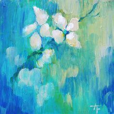 White Blossoms Original Art Painting 5x5 Inches by londonartgirl. $31.50, via Etsy.