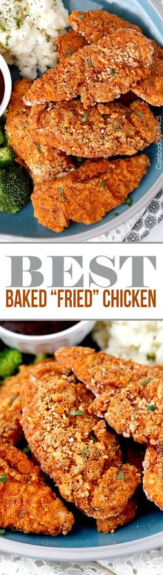 """seriously the BEST Baked """"fried"""" chicken! Crispy chicken marinated in spiced buttermilk then breaded with flour panko cornmeal and spices then baked in a little butter -tastes better than KFC without the grease and guilt! #KFCchicken #bakedfriedchicken #friedchicken"""
