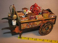 Dollhouse Miniatures Vendors Coffee Cart 1:12 Artisan