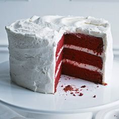 The bright hue of this cake recipe will make it a holiday hit for the Fourth of July or Christmas./