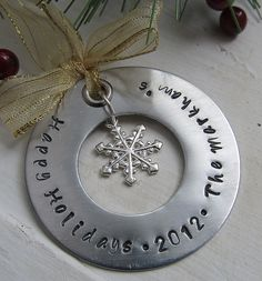 Personalized Christmas Ornament Personalized Ornament Handstamped Happy Holidays Custom Order Ornament