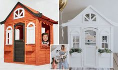 Thrifty mum transforms her daughter's Kmart cubby house Costco Playhouse, Playhouse Outdoor, Wooden Playhouse, Outdoor Play, Outdoor Spaces, Kids Cubby Houses, Kids Cubbies, Play Houses, Backyard Play