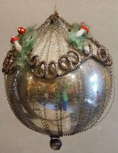 Antique German Blown Glass Ornament with curled Wires and Spun Cotton Mushrooms. German Christmas Decorations, German Christmas Ornaments, Old Christmas, Victorian Christmas, Christmas Baubles, Christmas Tree Decorations, Christmas Tree Ornaments, Christmas Holidays, Christmas Crafts