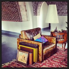 Old leather arm chair Sakkara