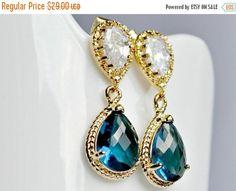 15% Easter Sale Bridal sapphire teardrop earrings bridesmaid