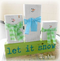 how to make wooden block snowmen decor, christmas decorations, crafts, seasonal holiday decor, woodworking projects