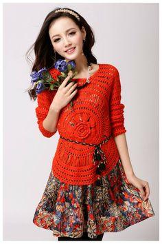 Broomstick Crochet Jumper with Flower