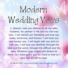 Modern Marriage Wedding Vows - Sample Vow Examples - New Ideas Modern Wedding Vows, Wedding Vows Examples, Best Wedding Vows, Funny Wedding Vows, Wedding Quotes, Wedding Humor, Wedding Speeches, Wedding Ideas, Trendy Wedding