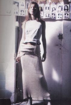 Kate Moss Backstage in a Knitted Skirt | Maison Martin Margiela Spring/Summer 1993