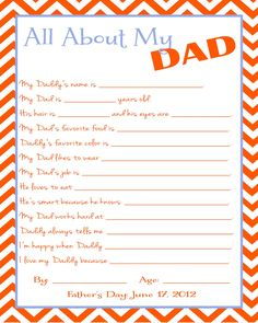 Great Father's Day gift for Grandpa or Papa! - Great Father's Day gift for Grandpa or Papa! Fathers Day Questionnaire, Quotes Girlfriend, Father's Day Printable, Free Printables, Daddy Day, Great Father's Day Gifts, Awesome Gifts, My Sun And Stars, Fathers Day Crafts