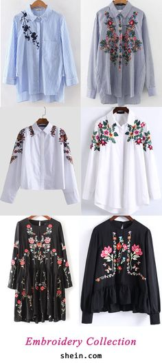 Embroidery New (Top Design Shirts) Hijab Fashion, Fashion Outfits, Womens Fashion, Fashion Trends, Casual Outfits, Cute Outfits, Mode Jeans, Mode Hijab, Embroidery Dress