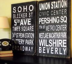 Subway art with a twist - the street names are raised off of the board.