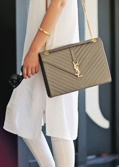 The quilted Saint Laurent monogrammed bag. | See more YSL on shopstyle.com