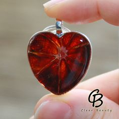 Heart Shape Pendant  Resin Blood Orange Necklace by ClearBeauty, £19.99