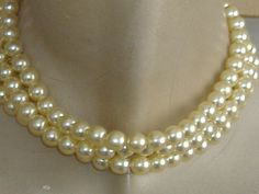 1950s faux pearl three string necklace from my etsy shop allthingsvintage77