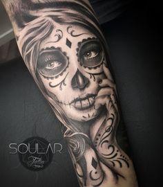 Day of the dead girl tattoo by Matt Parkin @ Soular Tattoo - Christchurch - New Zealand - Dia de los meurtos.
