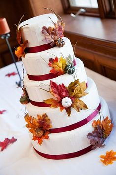 Fall Wedding Fake Wedding Cake Autumn Wedding Cake by SliceOfFake, $200.00