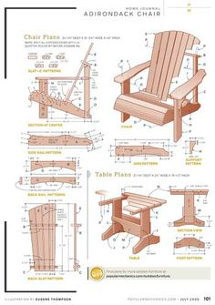 These free Adirondack chair plans will help you build a great looking chair in just a few hours, Build one yourself! Here are 18 adirondack chair diy Lawn Furniture, Woodworking Furniture, Pallet Furniture, Furniture Projects, Rustic Furniture, Woodworking Plans, Wood Projects, Woodworking Projects, Learn Woodworking